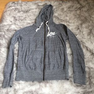 Grey Nike Zip Up Hoodie